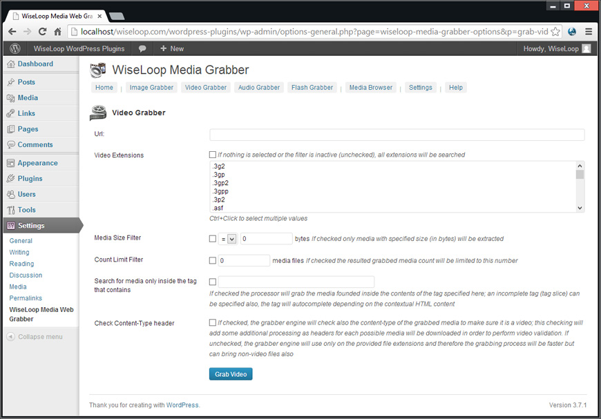 The Video Grabber is designed to download video files referred or contained by a target URL page. It uses the advanced extraction and filter engine to search the target URL page for video links by checking its a href tags.