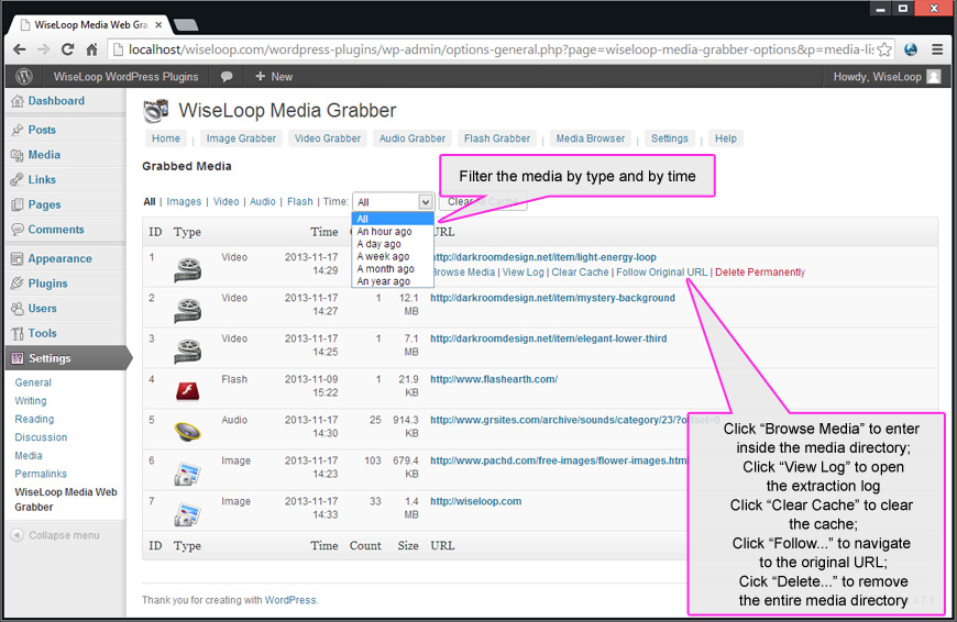 The Media Browser provides an elegant way of accessing media directories and viewing media files. It provides also means to delete an entire media directory, a single media file or to acces the original URL where the media directory was created from.