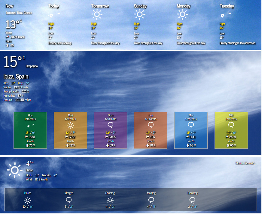 Complex widgets showing current weather conditions and forecast